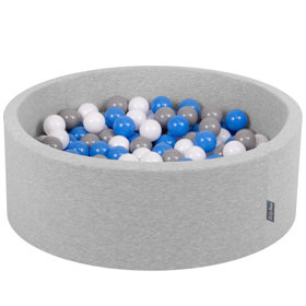 KiddyMoon Baby Foam Ball Pit with Balls 7cm /  2.75in Certified, Light Grey, Light Grey: Grey/ White/ Blue