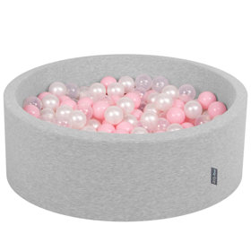 KiddyMoon Baby Foam Ball Pit with Balls 7cm /  2.75in Certified, Light Grey, Light Grey: Light Pink/ Pearl/ Transparent