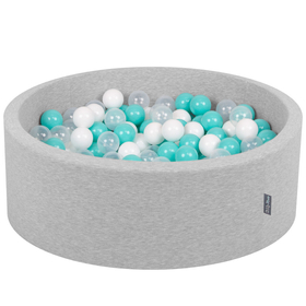 KiddyMoon Baby Foam Ball Pit with Balls 7cm /  2.75in Certified, Light Grey, Light Grey: Light Turquoise/ White/ Transparent