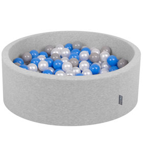 KiddyMoon Baby Foam Ball Pit with Balls 7cm /  2.75in Certified, Light Grey, Light Grey: Pearl/ Grey/ Blue