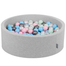 KiddyMoon Baby Foam Ball Pit with Balls 7cm /  2.75in Certified, Light Grey, Light Grey: Pearl/ Light Pink/ Baby Blue/ Mint/ Silver