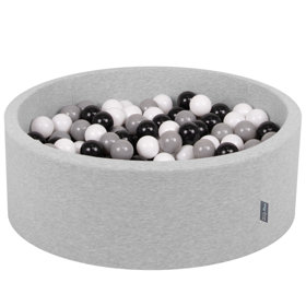 KiddyMoon Baby Foam Ball Pit with Balls 7cm /  2.75in Certified, Light Grey, Light Grey: White/ Black/ Grey