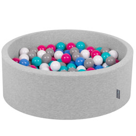 KiddyMoon Baby Foam Ball Pit with Balls ∅ 7cm / 2.75in Certified, Light Grey, Light Grey:White-Grey-Blue-Dark Pink-Light Turquoise