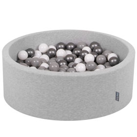 KiddyMoon Baby Foam Ball Pit with Balls 7cm /  2.75in Certified, Light Grey, Light Grey: White/ Grey/ Silver