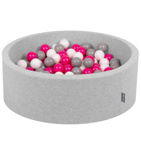 KiddyMoon Baby Foam Ball Pit with Balls ∅ 7cm / 2.75in Certified, Light Grey: White/ Grey/ Dark Pink