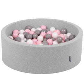 KiddyMoon Baby Foam Ball Pit with Balls ∅ 7cm / 2.75in Certified, Light Grey: White/ Grey/ Light Pink