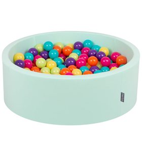 KiddyMoon Baby Foam Ball Pit with Balls 7cm /  2.75in Certified, Mint: L.Green/ Yellow/ Turquoise/ Orange/ D.Pink/ Purple