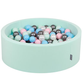 KiddyMoon Baby Foam Ball Pit with Balls 7cm /  2.75in Certified, Mint: Pearl/ Light Pink/ Babyblue/ Mint/ Silver