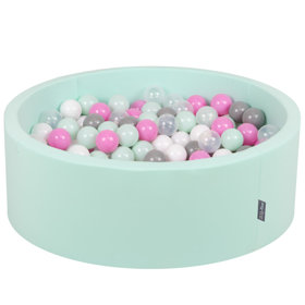 KiddyMoon Baby Foam Ball Pit with Balls 7cm /  2.75in Certified, Mint: Transparent/ Grey/ White/ Pink/ Mint