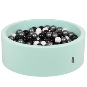 KiddyMoon Baby Foam Ball Pit with Balls 7cm / 2.75in Certified, Mint:White/Black/Silver