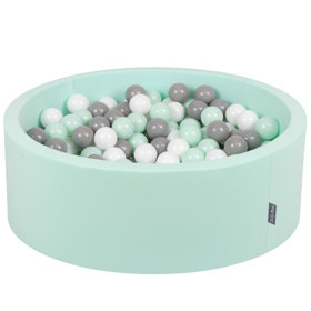 KiddyMoon Baby Foam Ball Pit with Balls ∅ 7cm / 2.75in Certified, Mint:White/Grey/Mint