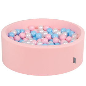 KiddyMoon Baby Foam Ball Pit with Balls ∅ 7cm / 2.75in Certified, Pink:Baby Blue-Light Pink-Pearl