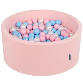 KiddyMoon Baby Foam Ball Pit with Balls ∅ 7cm / 2.75in Certified, Pink:Baby Blue/Light Pink/Pearl