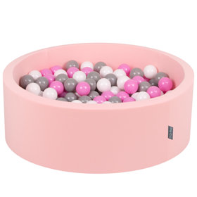 KiddyMoon Baby Foam Ball Pit with Balls 7cm / 2.75in Certified, Pink:Grey/White/Pink