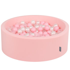 KiddyMoon Baby Foam Ball Pit with Balls 7cm /  2.75in Certified, Pink: Light Pink/ Pearl/ Transparent