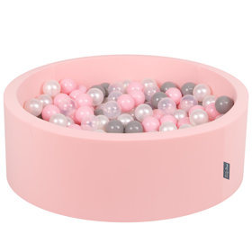 KiddyMoon Baby Foam Ball Pit with Balls 7cm / 2.75in Certified, Pink:Pearl/Grey/Transparent/Light Pink