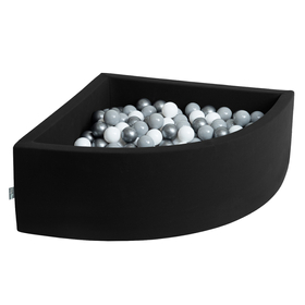 KiddyMoon Baby Foam Ball Pit with Balls 7cm /  2.75in Quarter Angular, Black: White/ Grey/ Silver