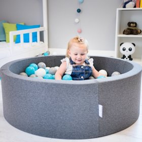KiddyMoon Baby Foam Ball Pit with Balls 7cm /  2.75in Quarter Angular, Dark Grey: Grey/ White/ Turquoise