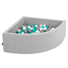 KiddyMoon Baby Foam Ball Pit with Balls ∅7cm / 2.75in Quarter Angular, Light Grey:Grey/White/Turquoise