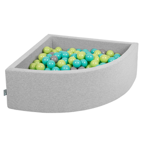 KiddyMoon Baby Foam Ball Pit with Balls 7cm /  2.75in Quarter Angular, Light Grey: Light Green/ Light Turquoise/ Grey