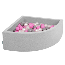 KiddyMoon Baby Foam Ball Pit with Balls 7cm /  2.75in Quarter Angular, Light Grey: Pearl/ Grey/ Pink
