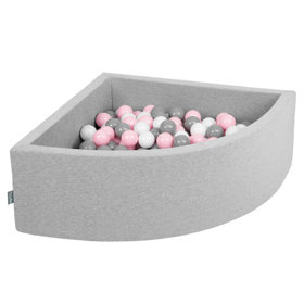 KiddyMoon Baby Foam Ball Pit with Balls 7cm /  2.75in Quarter Angular, Light Grey: White/ Grey/ Light Pink