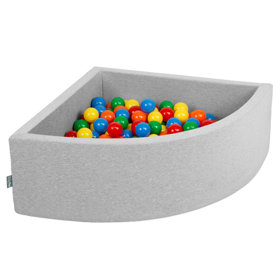 KiddyMoon Baby Foam Ball Pit with Balls 7cm /  2.75in Quarter Angular, Light Grey: Yellow/ Green/ Blue/ Red/ Orange