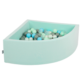 KiddyMoon Baby Foam Ball Pit with Balls ∅7cm / 2.75in Quarter Angular, Mint: Pearl/ Grey/ Transparent/ Baby blue/ Mint