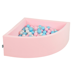 KiddyMoon Baby Foam Ball Pit with Balls 7cm /  2.75in Quarter Angular, Pink: Baby Blue/ Light Pink/ Pearl