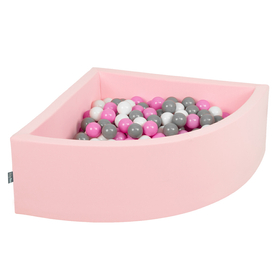 KiddyMoon Baby Foam Ball Pit with Balls 7cm /  2.75in Quarter Angular, Pink: Grey/ White/ Pink