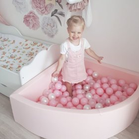 KiddyMoon Baby Foam Ball Pit with Balls ∅7cm / 2.75in Quarter Angular, Pink: Light Pink/ Pearl/ Transparent