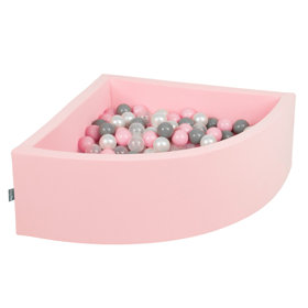 KiddyMoon Baby Foam Ball Pit with Balls 7cm /  2.75in Quarter Angular, Pink: Pearl/ Grey/ Transparent/ Powderpink