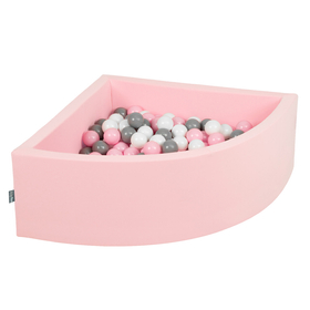 KiddyMoon Baby Foam Ball Pit with Balls 7cm /  2.75in Quarter Angular, Pink: White/ Grey/ Powderpink