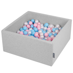 KiddyMoon Baby Foam Ball Pit with Balls ∅ 7cm / 2.75in Square, Light Grey:Baby Blue/Light Pink/Pearl