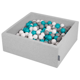 KiddyMoon Baby Foam Ball Pit with Balls 7cm / 2.75in Square, Light Grey:Grey/White/Turquoise