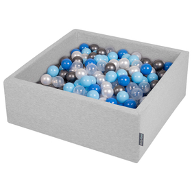 KiddyMoon Baby Foam Ball Pit with Balls ∅ 7cm / 2.75in Square, Light Grey:Pearl/Blue/Baby Blue/Transparent/Silver