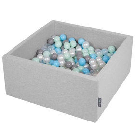 KiddyMoon Baby Foam Ball Pit with Balls ∅ 7cm / 2.75in Square, Light Grey:Pearl/Grey/Transparent/Baby Blue/Mint