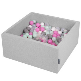 KiddyMoon Baby Foam Ball Pit with Balls ∅ 7cm / 2.75in Square, Light Grey:Transparent/Grey/White/Pink/Mint