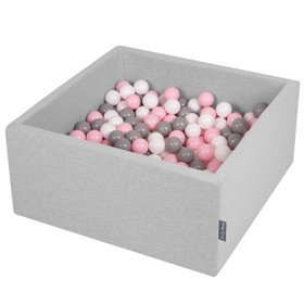 KiddyMoon Baby Foam Ball Pit with Balls ∅ 7cm / 2.75in Square, Light Grey:White/Grey/Light Pink