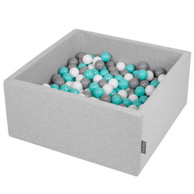 KiddyMoon Baby Foam Ball Pit with Balls ∅ 7cm / 2.75in Square, Light Grey:White/Grey/Light Turquoise
