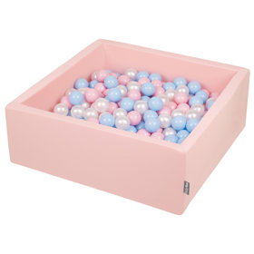 KiddyMoon Baby Foam Ball Pit with Balls ∅ 7cm / 2.75in Square, Pink:Baby Blue/Light Pink/Pearl