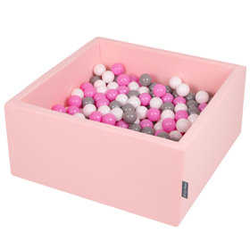 KiddyMoon Baby Foam Ball Pit with Balls ∅ 7cm / 2.75in Square, Pink:Grey/White/Pink