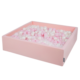 KiddyMoon Foam Ballpit Big Square with Plastic Balls, Certified Made In, Pink: Powder Pink-Pearl-Transparent