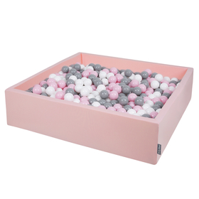 KiddyMoon Foam Ballpit Big Square with Plastic Balls, Certified Made In, Pink: White-Grey-Powder Pink