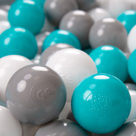 KiddyMoon Soft Plastic Play Balls 6cm / 2.36 Multi Colour Certified, Grey/White/Turquoise