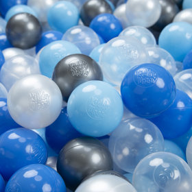 KiddyMoon Soft Plastic Play Balls 6cm /  2.36 Multi Colour Certified, Pearl/ Blue/ Baby Blue/ Transparent-Silver