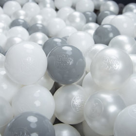 KiddyMoon Soft Plastic Play Balls 6cm /  2.36 Multi Colour Certified, White/ Grey/ Pearl
