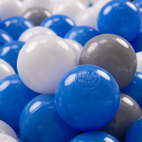 KiddyMoon Soft Plastic Play Balls 7cm/ 2.75in Multi-colour Certified, Grey/ White/ Blue