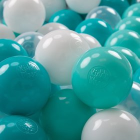 KiddyMoon Soft Plastic Play Balls 7cm/ 2.75in Multi-colour Certified, Light Turquoise/ White/ Transparent/  Turquoise