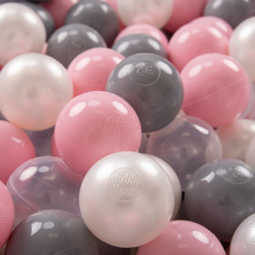KiddyMoon Soft Plastic Play Balls ∅ 7cm/2.75in Multi-colour Certified, Pearl/Grey/Transparent/Light Pink